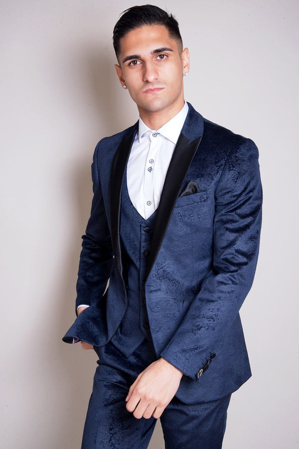 Simon Jacquard Navy Velvet Three Piece Suit - Mens Tweed Suits