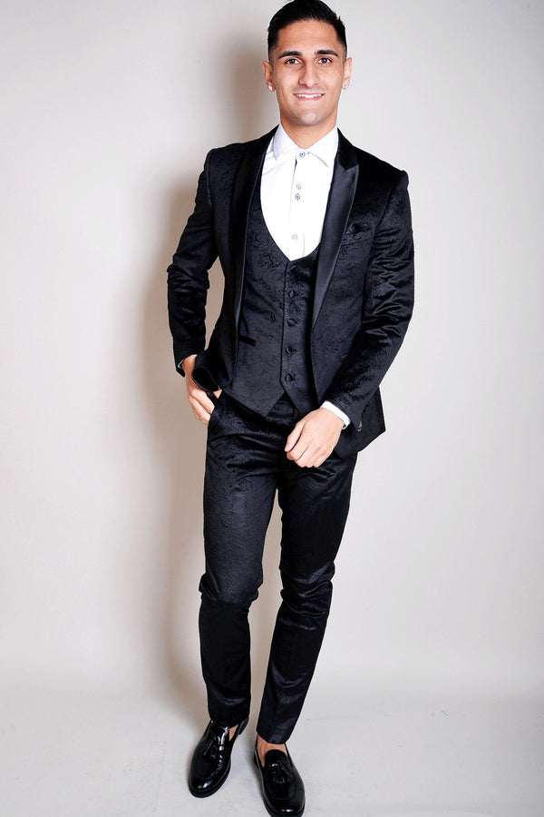 Simon Jacquard Black Velvet Three Piece Suit - Mens Tweed Suits