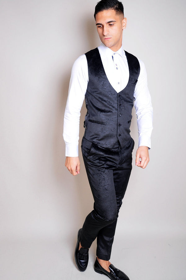 Simon Jacquard Navy Velvet Waistcoat - Mens Tweed Suits