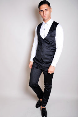 Simon Jacquard Black Velvet Waistcoat - Mens Tweed Suits