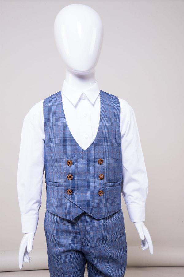 George Boys Light Blue Check Suit | Marc Darcy - Mens Tweed Suits