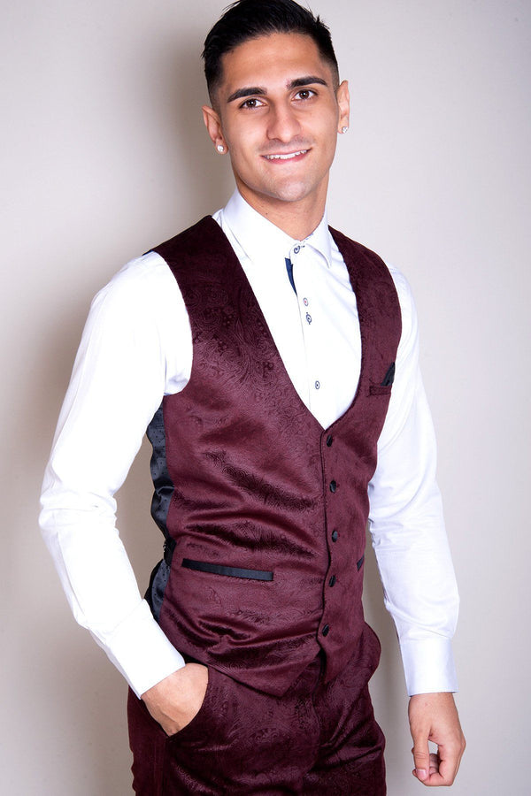 Simon Jacquard Wine Velvet Waistcoat - Mens Tweed Suits