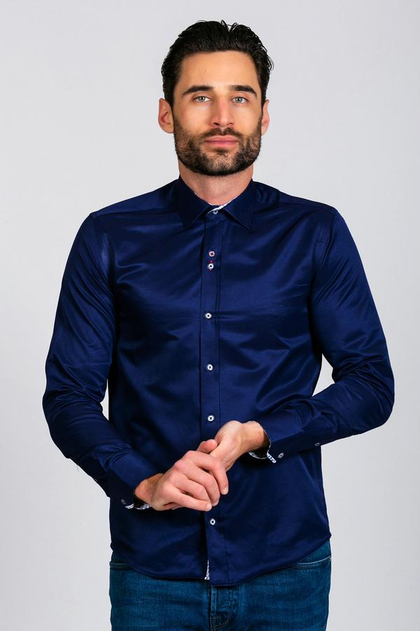 Mens Navy Long Sleeve Shirts | Mens Tweed Suits | Marc Darcy Suits
