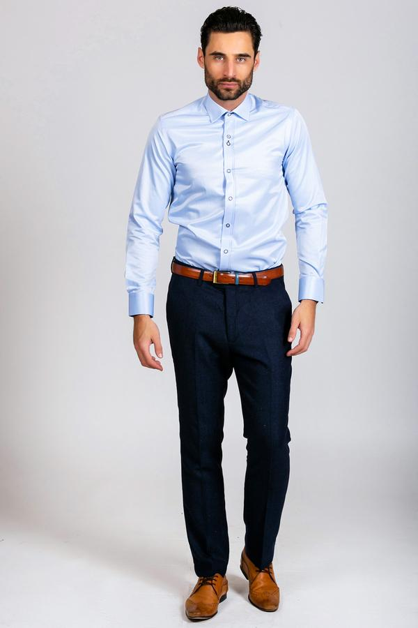 ALFIE - Sky Blue Long Sleeve Shirt | Marc Darcy blue wedding tweed
