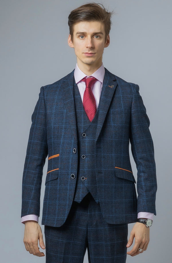 Mens Navy Tweed Check 3 Piece Suit | Robert Simon Suits | Mens Tweed Suits