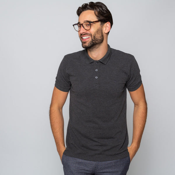 HEWITT CHARCOAL - Mens Shortsleeve Polos | Mens Tweed Suits