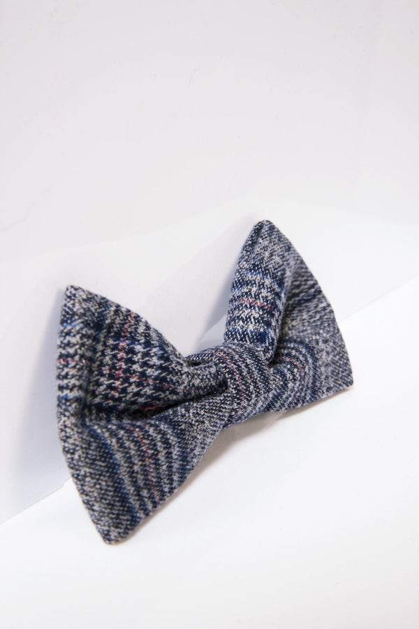Enzo Blue Grey Bow Tie - Mens Tweed Suits
