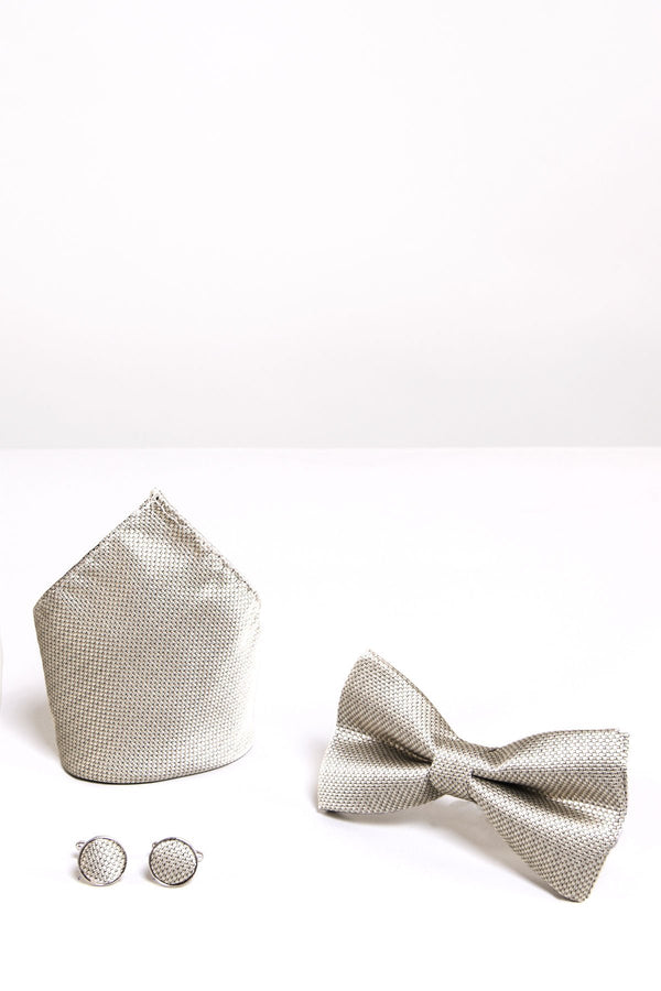 TB17 Birdseye Print Bow Tie, Cufflink and Pocket Square Set In Champagne - Mens Tweed Suits
