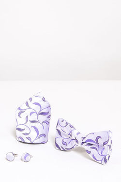 Purple Leaf Bow Tie Set | Wedding Bow Ties & Accessories | Mens Tweed Suits