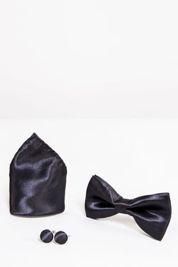 SB Satin Bow Tie, Cufflink and Pocket Square Set In Black - Mens Tweed Suits