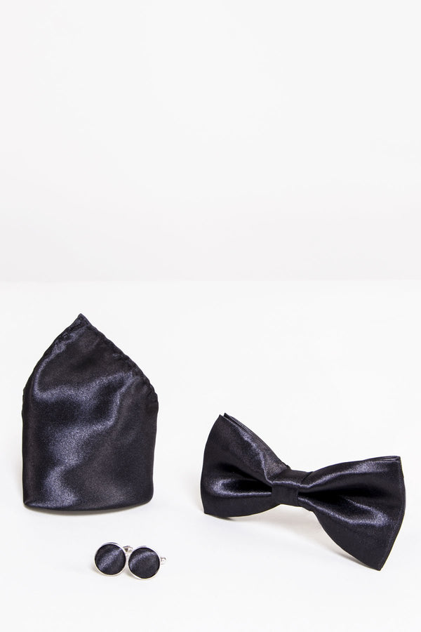 SB Satin Bow Tie, Cufflink and Pocket Square Set In Black - Wedding Suit Direct