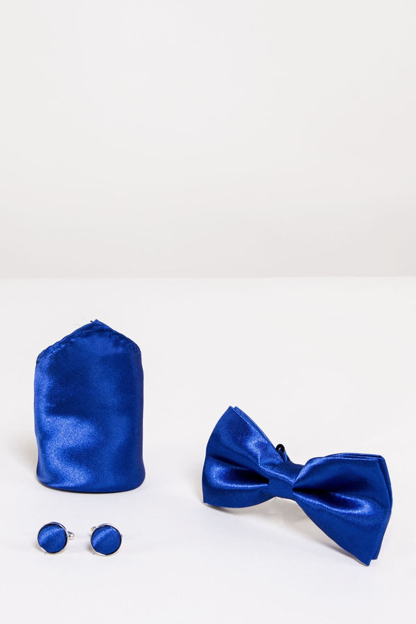 SB Satin Bow Tie, Cufflink and Pocket Square Set In Royal Blue - Mens Tweed Suits