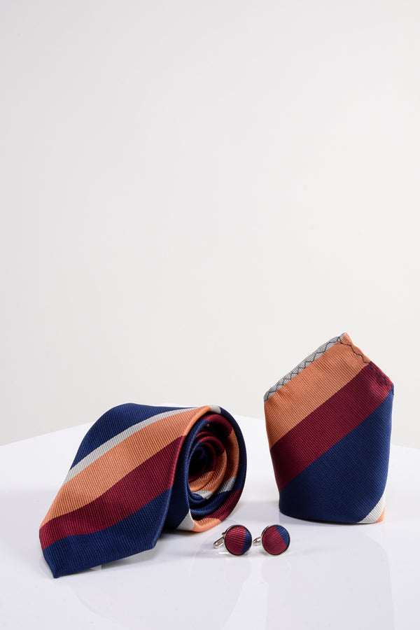 Bruno Multi-Colour Stripe Tie, Cufflink and Pocket Square