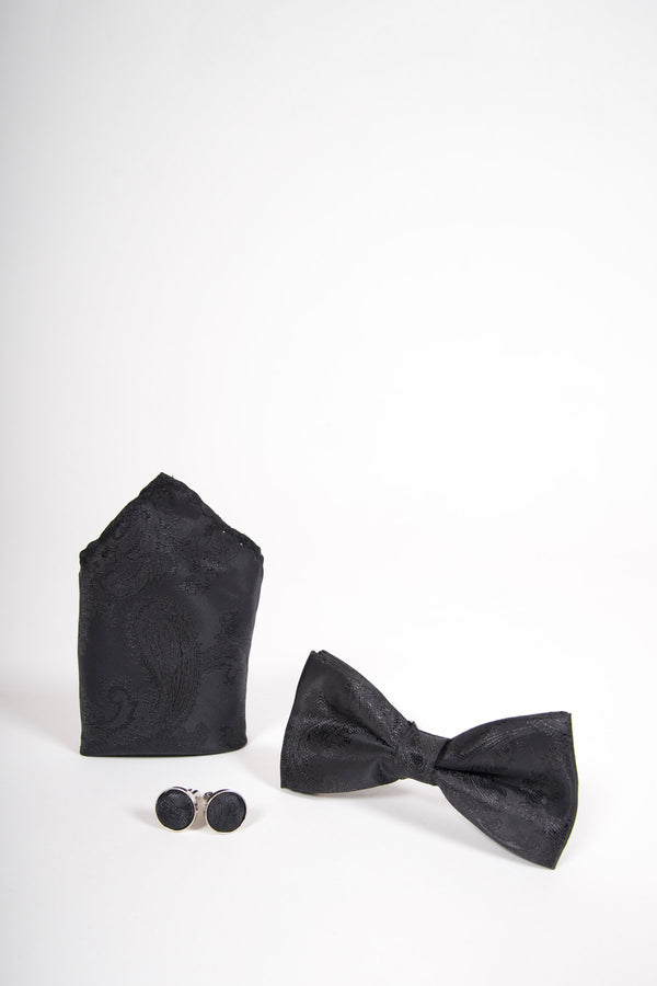 TS PAISLEY Black Paisley Bow Tie, Cufflink and Pocket Square Set - Mens Tweed Suits