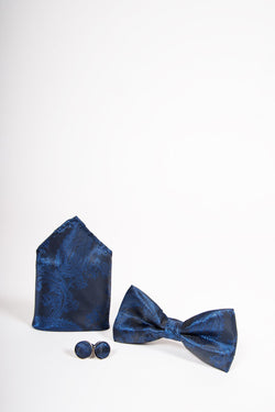 TS PAISLEY Navy Paisley Bow Tie, Cufflink and Pocket Square Set - Mens Tweed Suits