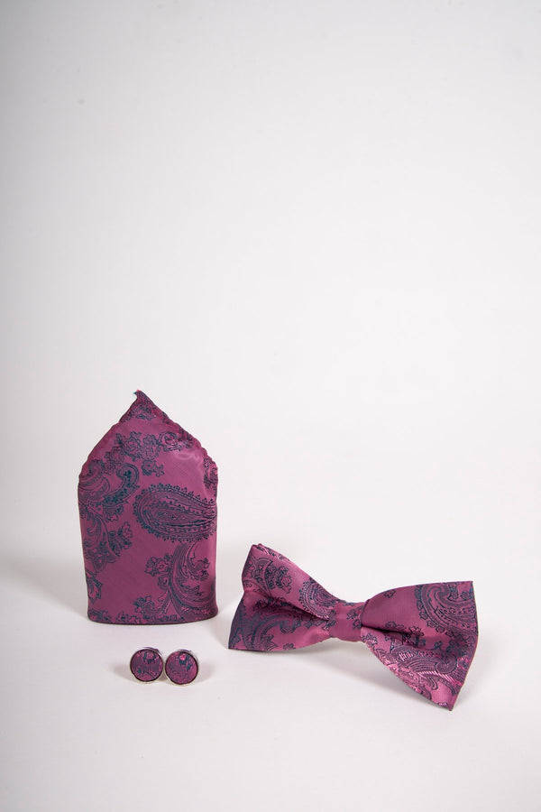 TS PAISLEY Pink Paisley Bow Tie, Cufflink and Pocket Square Set - Mens Tweed Suits