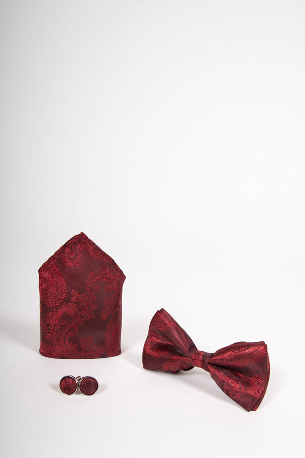 TS PAISLEY Wine Paisley Bow Tie, Cufflink and Pocket Square Set - Mens Tweed Suits