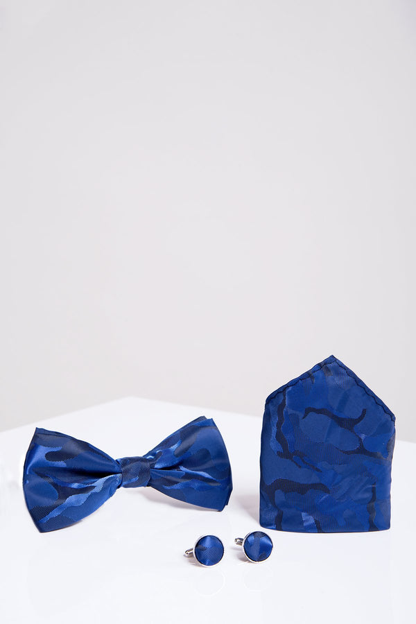 BT ARMY Blue Camouflage Bow Tie, Cufflink and Pocket Square Set - Wedding Suit Direct