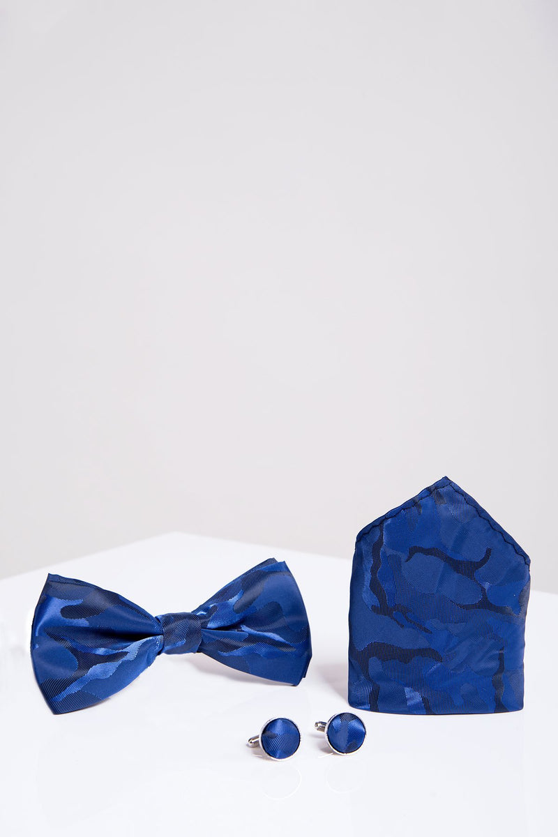 BT ARMY Blue Camouflage Bow Tie, Cufflink and Pocket Square Set - Mens Tweed Suits