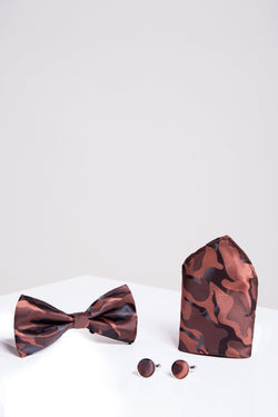 BT ARMY Copper Camouflage Bow Tie, Cufflink and Pocket Square Set - Mens Tweed Suits