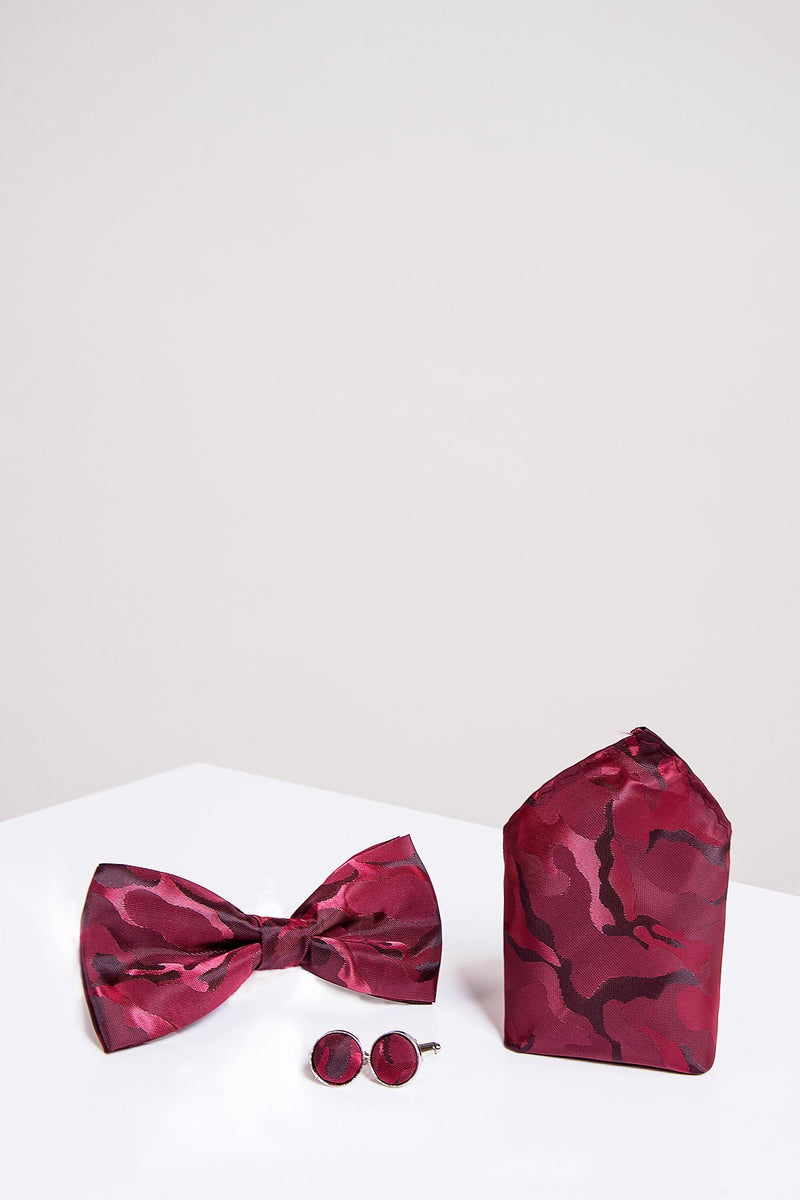BT ARMY Wine Camouflage Bow Tie, Cufflink and Pocket Square Set - Mens Tweed Suits