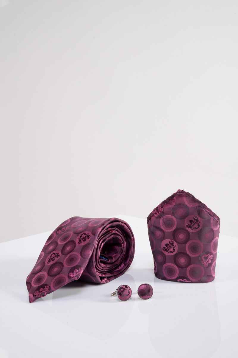 Bubble Berry Tie, Cufflink and Pocket Square
