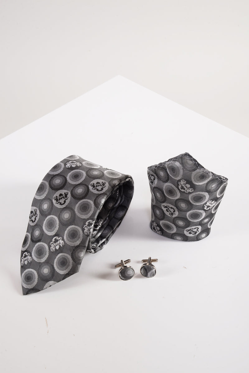 Bubble Grey Tie, Cufflink and Pocket Square