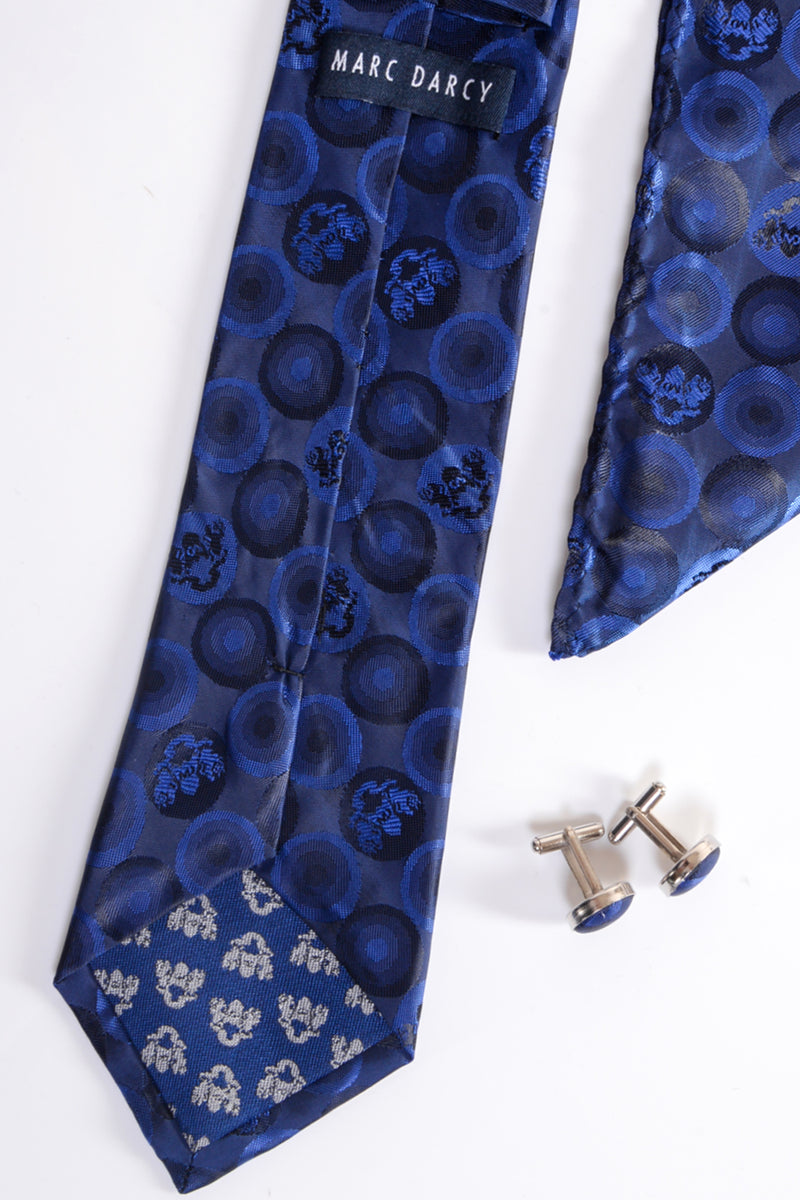 Bubble Navy Tie, Cufflink and Pocket Square