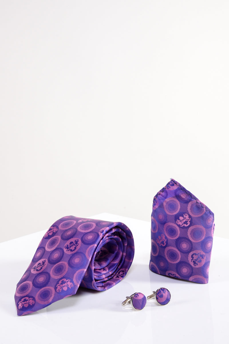Bubble Purple Tie, Cufflink and Pocket Square