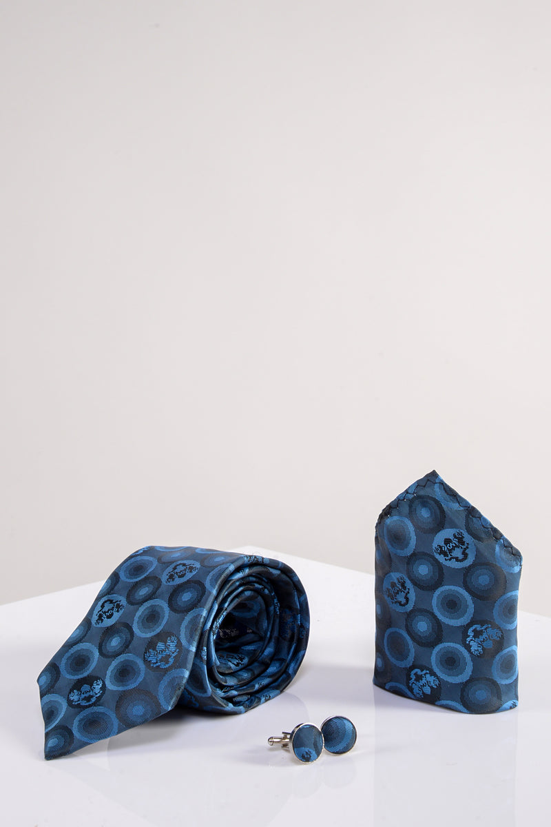 Bubble Sky Blue Tie, Cufflink and Pocket Square