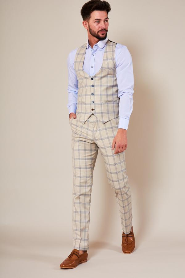 Buxton Cream Check Waistcoat | Marc Darcy - Mens Tweed Suits