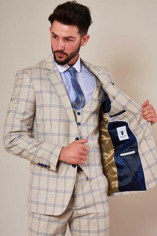 Buxton Cream Check Suit | Marc Darcy - Mens Tweed Suits