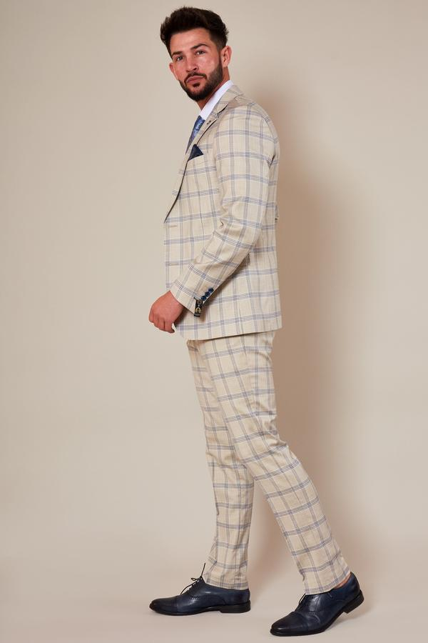 Buxton Cream Check Summer Wedding Suit - Mens Tweed Suits