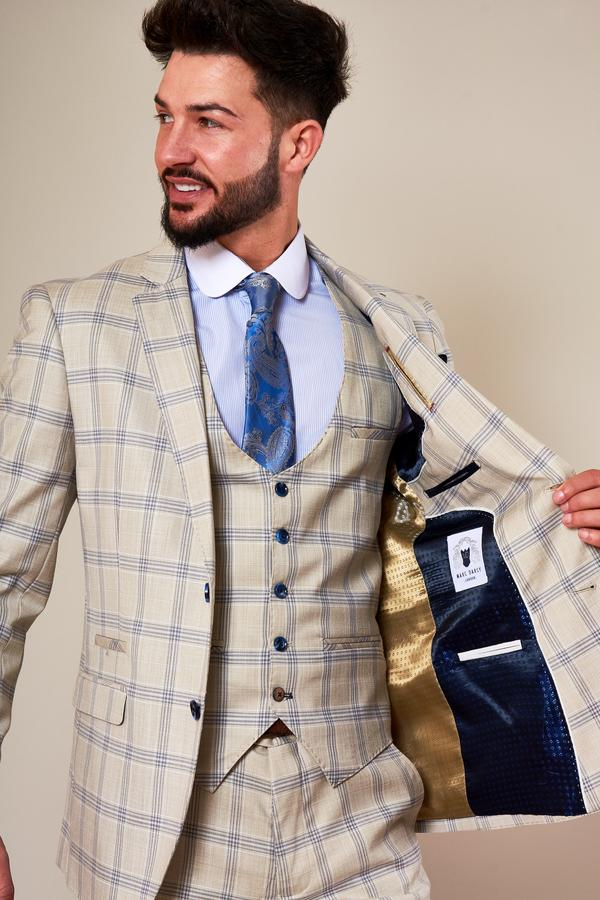 Buxton Beige Stone Check Jacket | Marc Darcy - Mens Tweed Suits