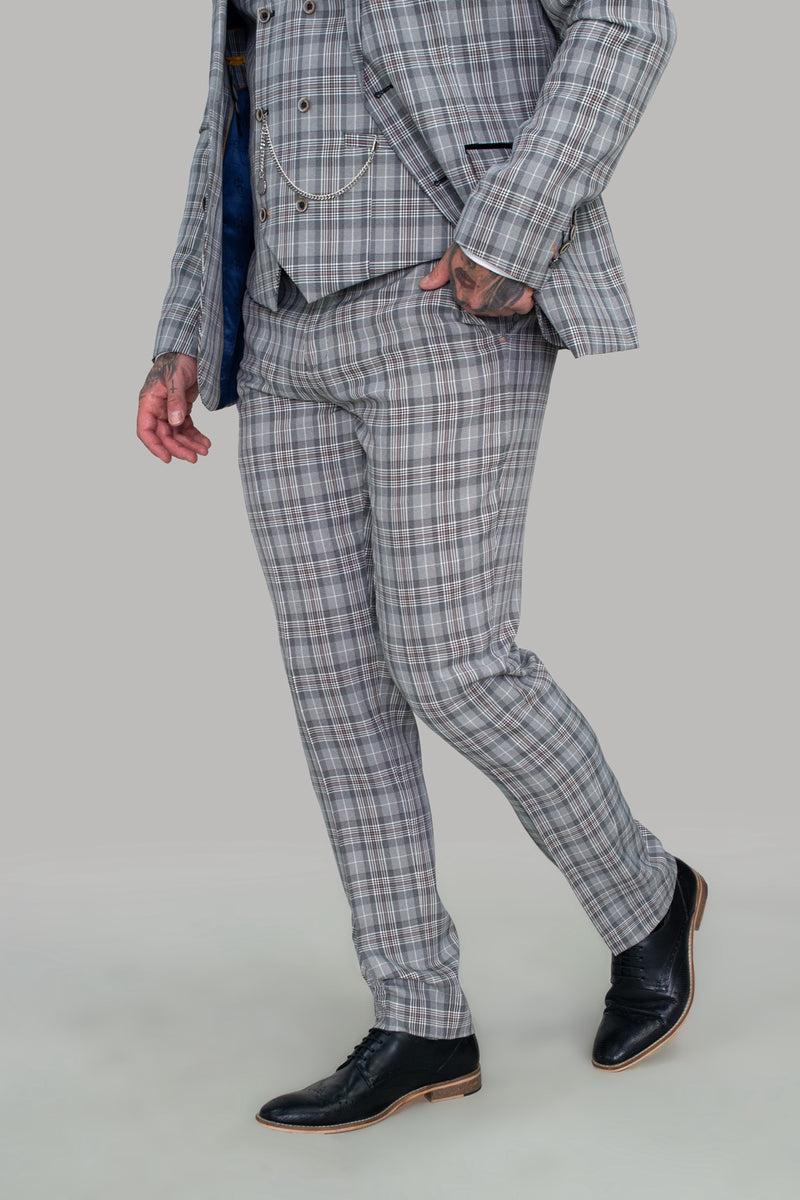 Callie Grey Check Skinny Three Piece Suit