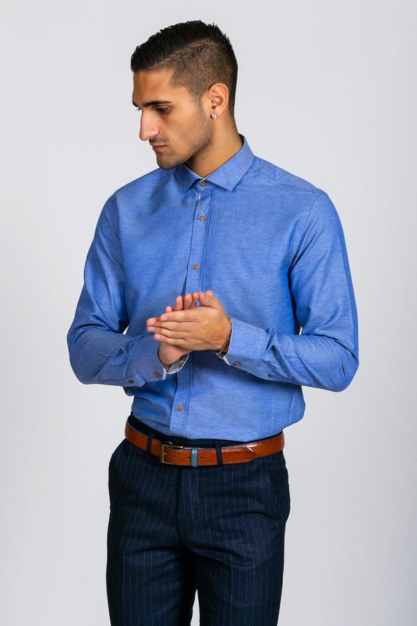 CHARLES - Denim Blue Button Down Collar Shirt | Marc Darcy - Mens Tweed Suits