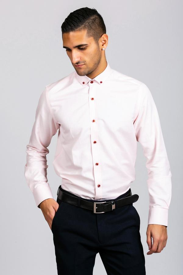 CHARLES - Pink Button Down Collar Shirt | Marc Darcy - Mens Tweed Suits