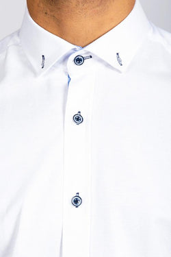 CHARLIE - White Button Down Collar Shirt With Blue Buttons | Marc Darcy - Mens Tweed Suits