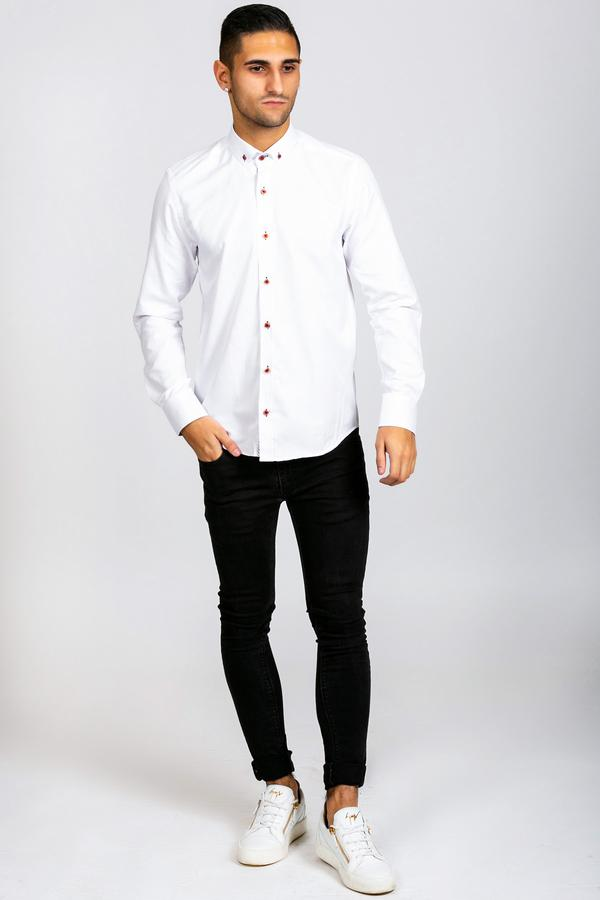 CHARLIE - White Button Down Collar Shirt With Wine Buttons | Marc Darcy