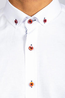CHARLIE - White Button Down Collar Shirt With Wine Buttons | Marc Darcy - Mens Tweed Suits