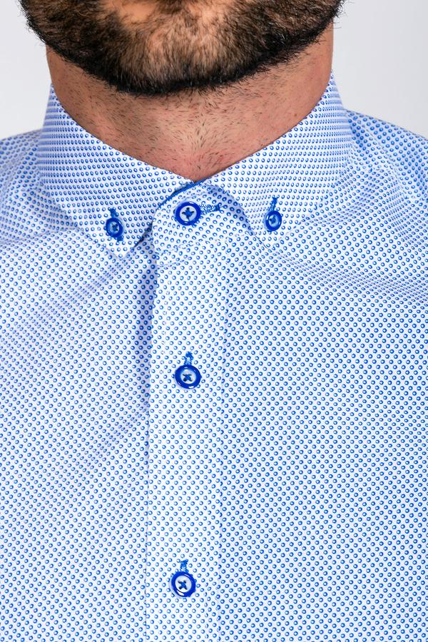 CHESTER - Blue Fine Print Long Sleeve Shirt | Marc Darcy blue wedding