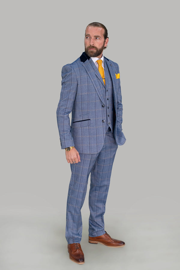 Connall Blue Tweed Check Suit