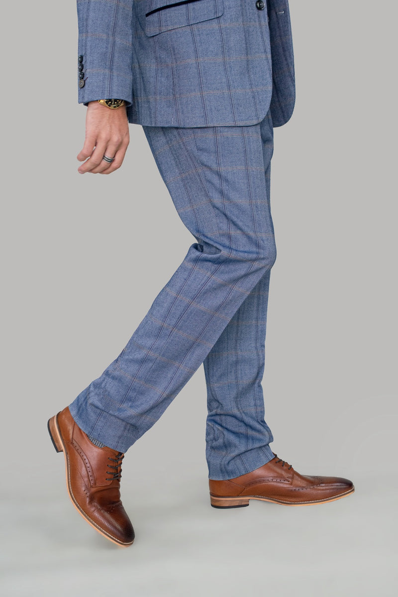 Connall Blue Tweed Check Trousers