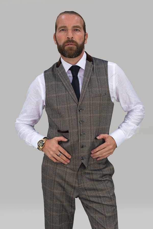 Connall Brown Tweed Check Waistcoat
