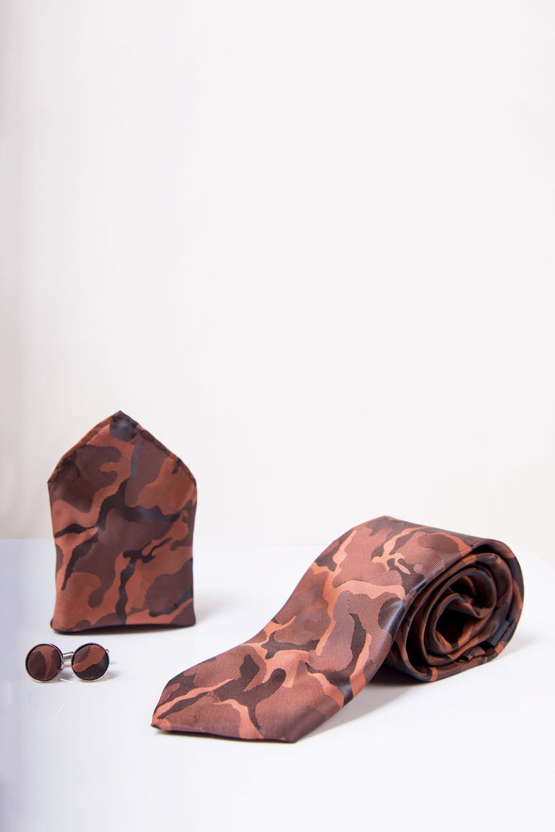 TS ARMY Copper Camouflage Tie, Cufflink & Pocket Square - Mens Tweed Suits