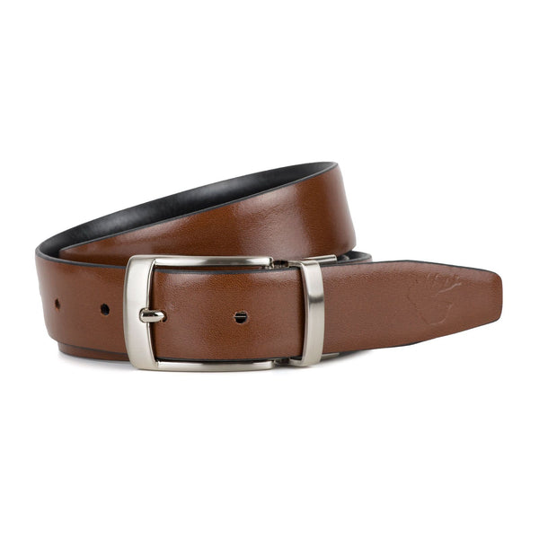 CHARLES BLACK AND TAN BELT | Goodwin Smith