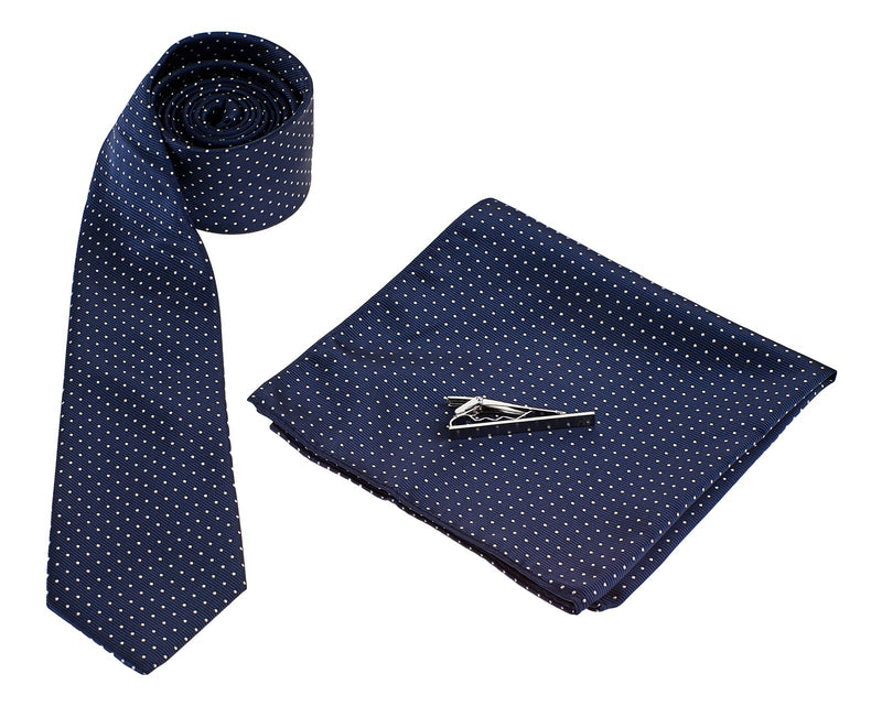 Navy Tie White Dots - Mens Tweed Suits