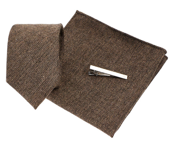 Brown Herringbone Tie Set - Mens Tweed Suits
