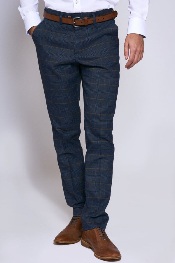 Jenson Navy Check Trousers | Marc Darcy | Menstweedsuits.com