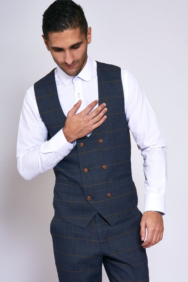 Jenson Navy Check Waistcoat | Marc Darcy - Mens Tweed Suits